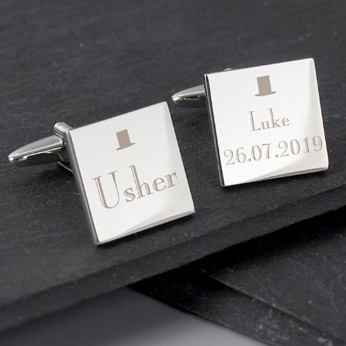 Decorative Wedding Usher Square Cufflinks
